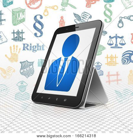 Law concept: Tablet Computer with  blue Business Man icon on display,  Hand Drawn Law Icons background, 3D rendering