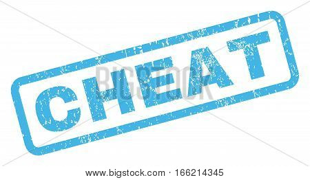 Cheat text rubber seal stamp watermark. Tag inside rectangular banner with grunge design and scratched texture. Inclined vector blue ink sticker on a white background.