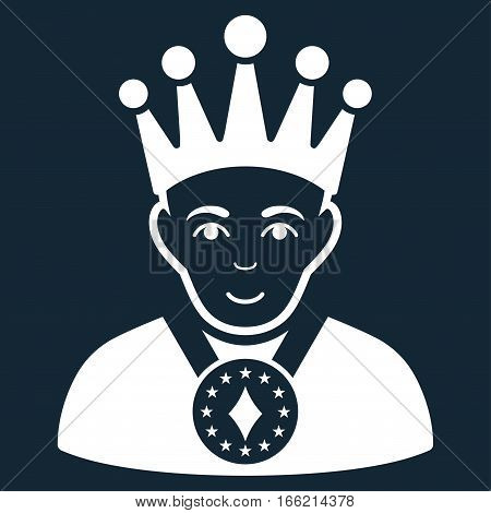 King vector icon. Flat white symbol. Pictogram is isolated on a dark blue background. Designed for web and software interfaces.