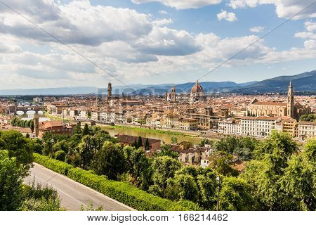 View Of Florence Cityscape Overlook From Piazzale Michelangelo