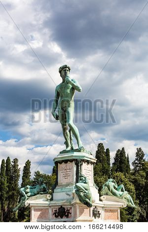 Bronze Cast Of David At The Piazzale Michelangelo In Florence, Italy