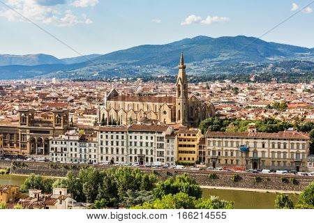 View Of Florence Cityscape Overlook To Basilica Di Santa Croce Di Firenze