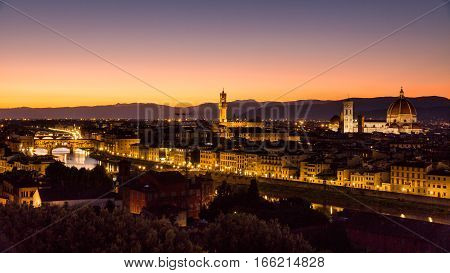 View At Sunset To The City Of Florence From Michelangelo Square