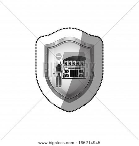 sticker shield with builder with helmet and house vector illustration