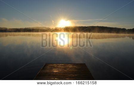 magical sunrise on the lake Masurian Lakes, Probark, Poland