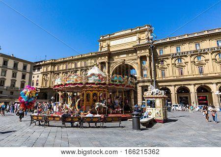 View Of The Piazza Della Repubblica And The Carousel Antica Giostra Toscana