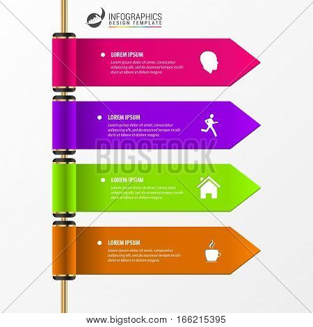 Infographic template. Banners for diagram graph presentation chart step options web design. 4 steps. Vector illustration