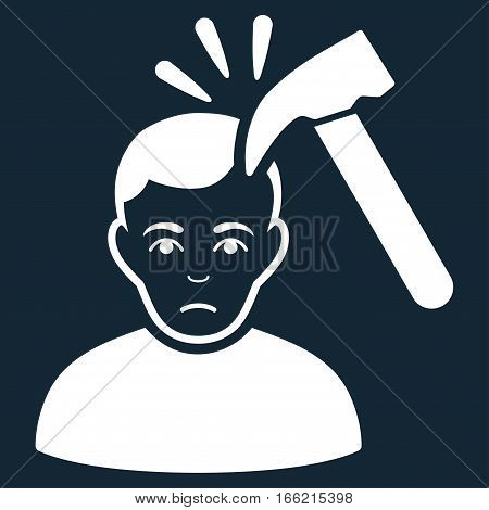 Murder With Hammer vector icon. Flat white symbol. Pictogram is isolated on a dark blue background. Designed for web and software interfaces.