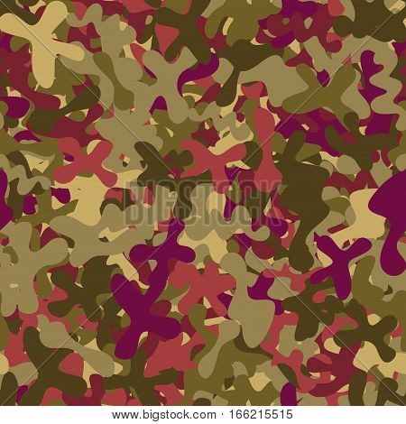 abstract vector chaotic spotted seamless pattern - brown and purple