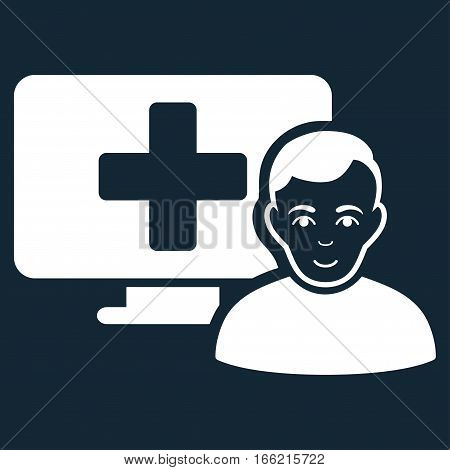 Online Medicine vector icon. Flat white symbol. Pictogram is isolated on a dark blue background. Designed for web and software interfaces.