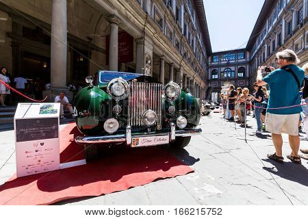 View Of A Public Outdoor Oldtimer Car Exhibition At The Piazzale Degli Uffizi, Florence