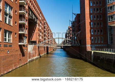 View Of A Typical View Of The Speicherstadt In Hamburg