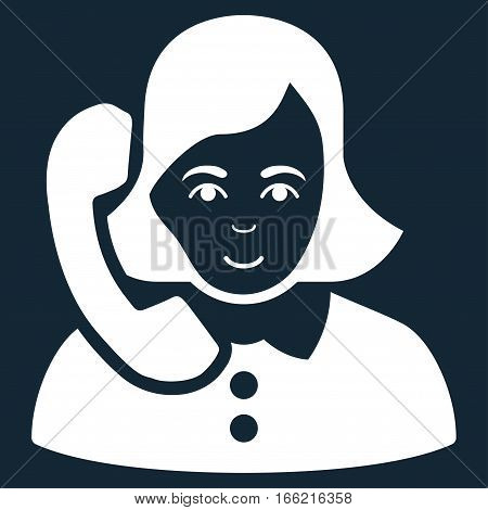 Receptionist vector icon. Flat white symbol. Pictogram is isolated on a dark blue background. Designed for web and software interfaces.