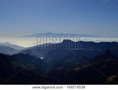 Mountains of Gran canaria and Tenerife in background, Canary islands