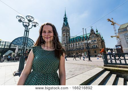 Tourist Girl In Front Of The The Hamburg Rathaus In Germany