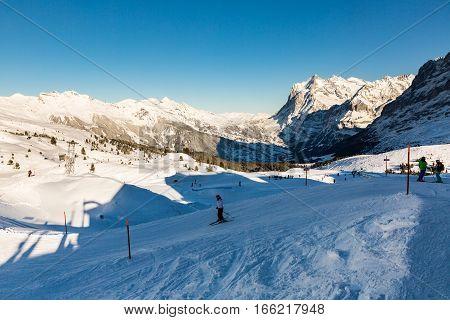 View Of The Ski Resort Jungfrau Wengen In Switzerland