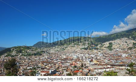 Quito, Pichincha / Ecuador - January 22 2016: Panoramic view of the historic center of the city of Quito. The historic center was declared by UNESCO the first Cultural Heritage on 1978