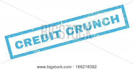 Credit Crunch text rubber seal stamp watermark. Tag inside rectangular banner with grunge design and dust texture. Inclined vector blue ink sign on a white background.