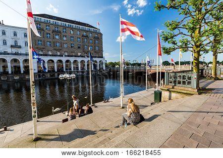 Exterior View Of The Hamburg Reesendamm And The Jungfernstieg In The City Center Of Hamburg