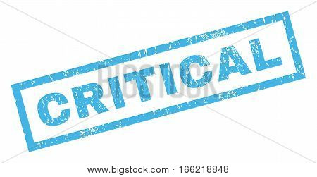 Critical text rubber seal stamp watermark. Caption inside rectangular shape with grunge design and scratched texture. Inclined vector blue ink emblem on a white background.