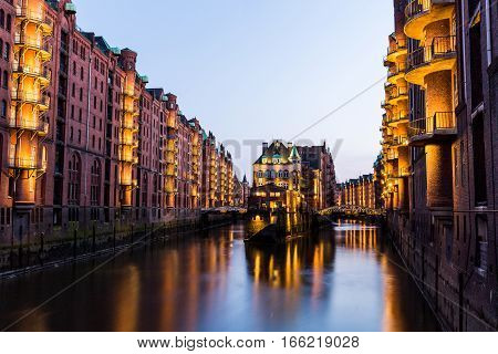 View Of The Speicherstadt, Also Called Hafen City,  In Hamburg, Germany