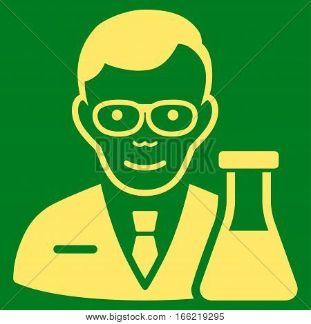 Chemist vector icon. Flat yellow symbol. Pictogram is isolated on a green background. Designed for web and software interfaces.