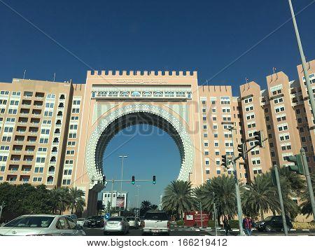 DUBAI, UAE - JAN 6: Ibn Battuta Gate Hotel and Residence in Dubai, UAE, as seen on Jan 6, 2017. It includes hotel rooms, apartments/flats, restaurants, and shops.