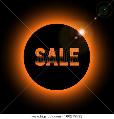 Sale with orange  or yellow lights. glare from the sun