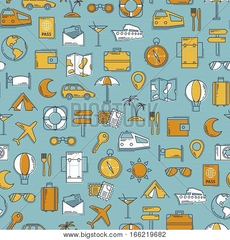 Travel retro line icons vector seamless pattern. Vintage classic colors background. Illustration for web and mobile. Vacation concept