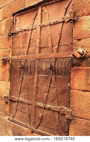 Metal doors in Gamla Stan, old town Stockholm, Sweden