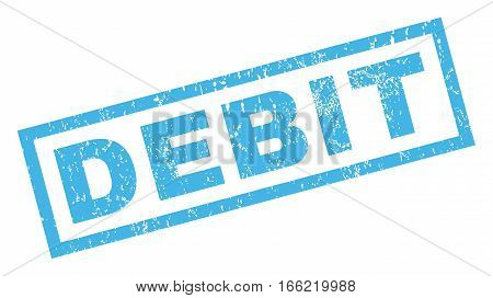 Debit text rubber seal stamp watermark. Caption inside rectangular shape with grunge design and dust texture. Inclined vector blue ink sign on a white background.