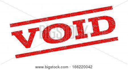 Void watermark stamp. Text caption between parallel lines with grunge design style. Rubber seal stamp with dust texture. Vector red color ink imprint on a white background.