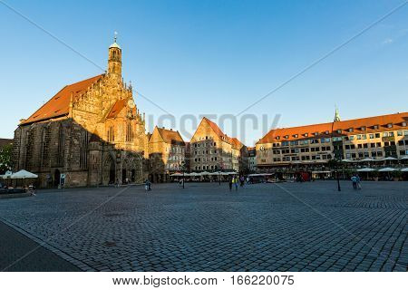 Exterior View Of The Frauenkirche And Historical Building Around