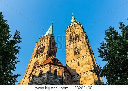 Exterior View Of Sankt Sebaldus Church In The Old Town Part Of Nurnberg