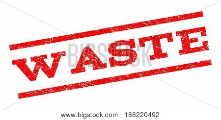 Waste watermark stamp. Text tag between parallel lines with grunge design style. Rubber seal stamp with unclean texture. Vector red color ink imprint on a white background.