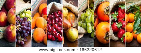 collage of different fruit in jute bags