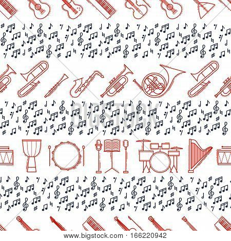Musical instruments seamless pattern. Vector classic element illustration. Saxophone cello horn guitar piano harp and others silhouette collection. Modern line style.