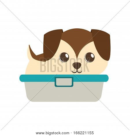 cute puppy little brown bathtub vector illustration eps 10
