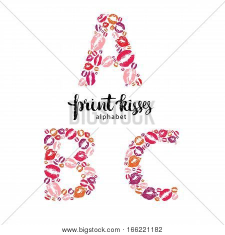 Set of letters A, B and C, made from print kisses, part of a complete alphabet collection for your writing or design