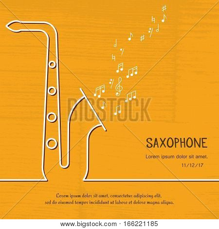 Abstract music saxophone cover. Graphic vector poster illustration. Modern cute card line background. Sound concept. Invitation, packaging element
