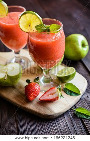 Fresh Organic Smoothie With Apple, Strawberry And Lime