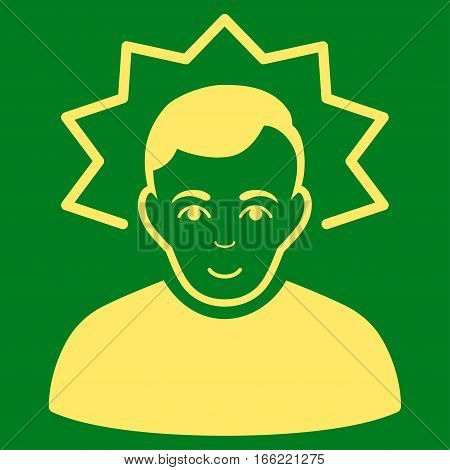 Inventor vector icon. Flat yellow symbol. Pictogram is isolated on a green background. Designed for web and software interfaces.