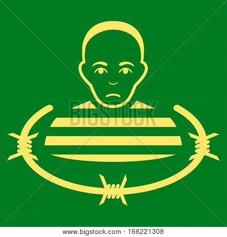Isolated Prisoner vector icon. Flat yellow symbol. Pictogram is isolated on a green background. Designed for web and software interfaces.