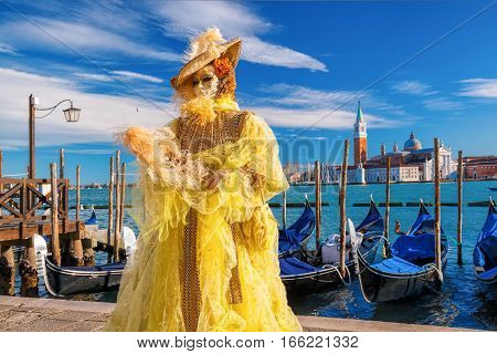 Famous Carnival With Beautiful Masks In Venice, Italy