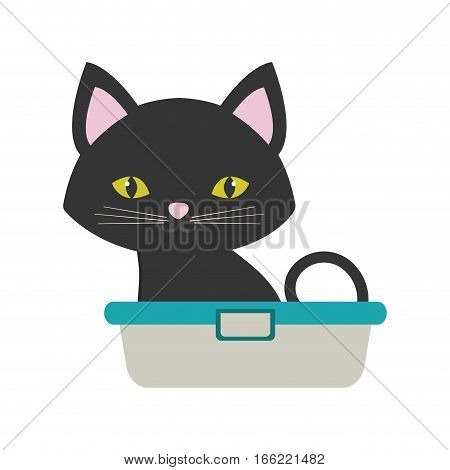 small cat sitting grooming pet bathtub vector illustration eps 10
