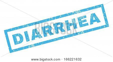 Diarrhea text rubber seal stamp watermark. Caption inside rectangular banner with grunge design and dust texture. Inclined vector blue ink sticker on a white background.