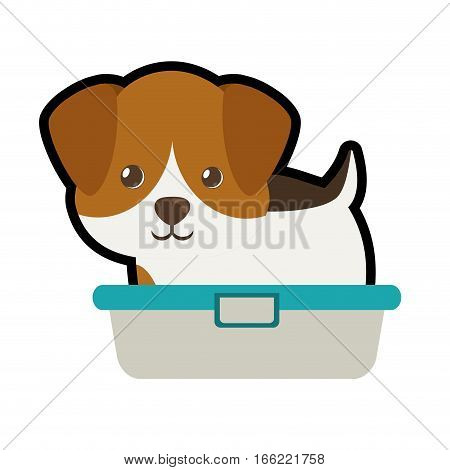 cute puppy little portrait lovely bathtub vector illustration eps 10