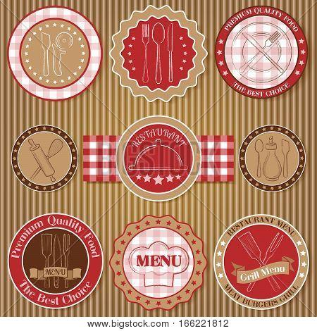 Set of vintage beige and red restaurant badges on paperboard background vector illustration