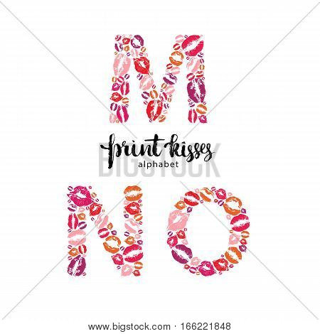 Set of letters M, N and O made from print kisses, part of a complete alphabet collection for your writing or design