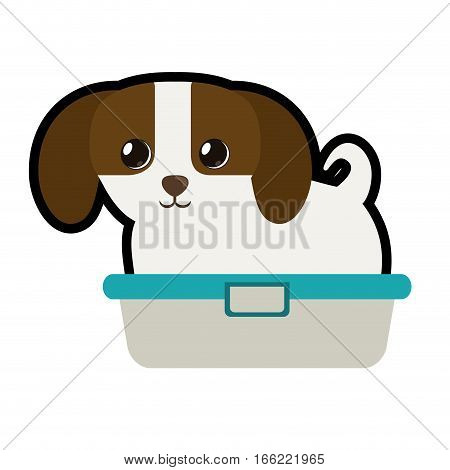 cute puppy little canine adorable bathtub vector illustration eps 10